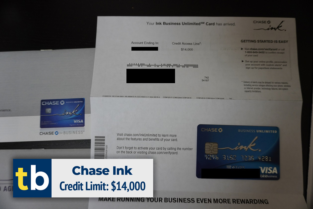 chase ink business credit approved $14000