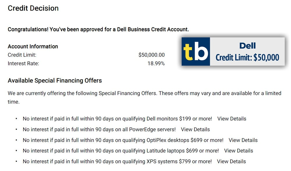 dell business credit approved $50000
