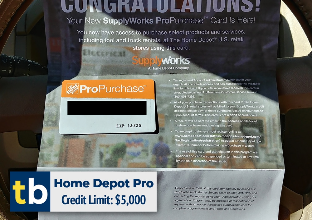home depot business credit approved $5000