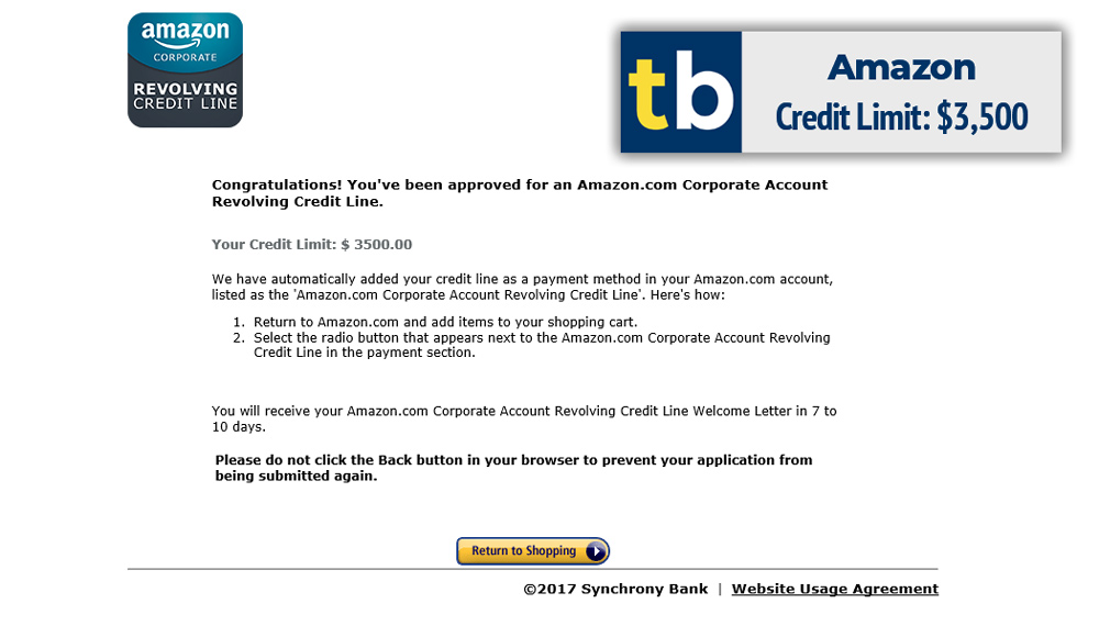 amazon business credit approved $3500