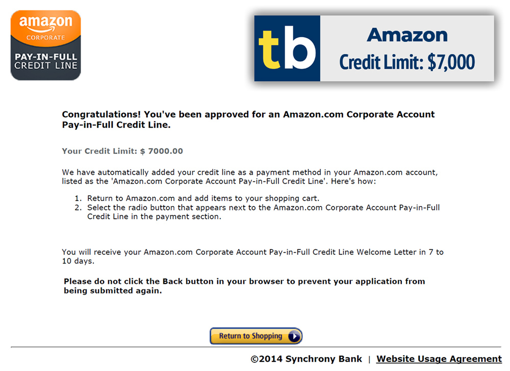 amazon business credit approved $7000