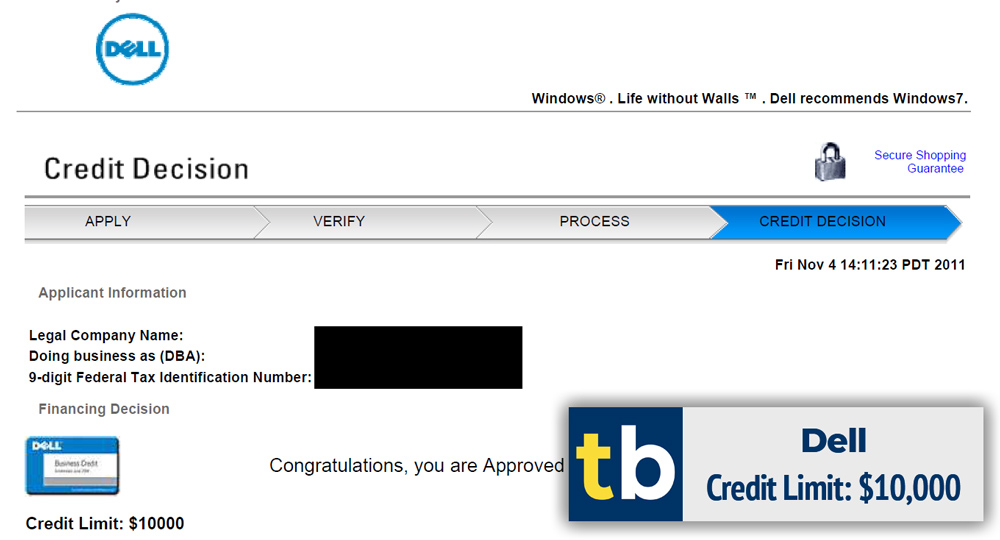 dell business credit approved $10000