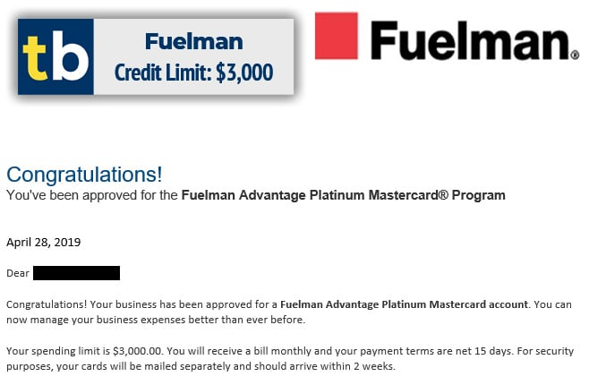 fuelman business credit approved $3000