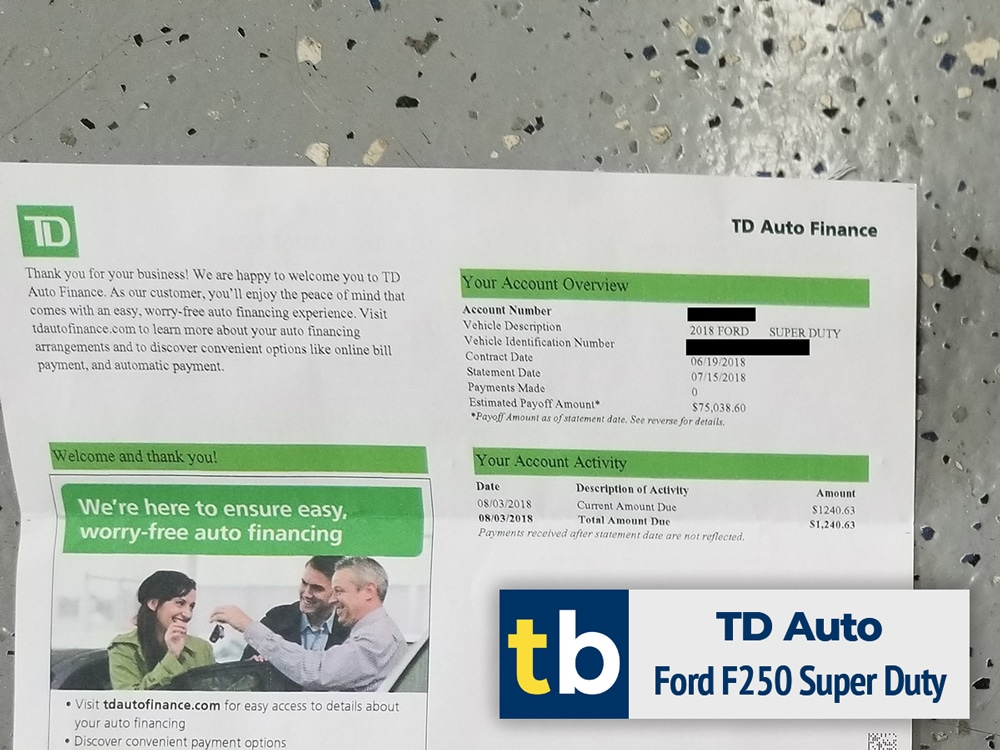 td auto finance business credit approved ford f250