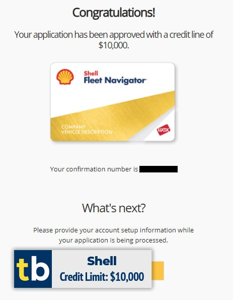 shell business credit approved $10000